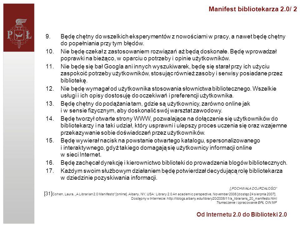 Manifest bibliotekarza 2.0/ 2