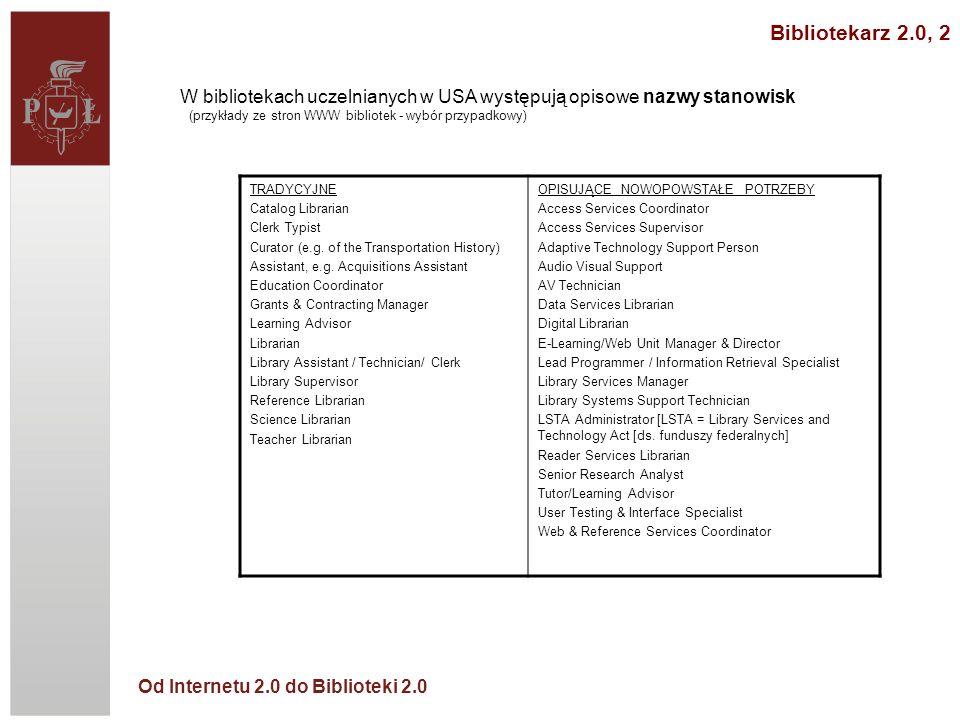 Bibliotekarz 2.0, 2 W bibliotekach uczelnianych w USA występują opisowe nazwy stanowisk (przykłady ze stron WWW bibliotek - wybór przypadkowy)