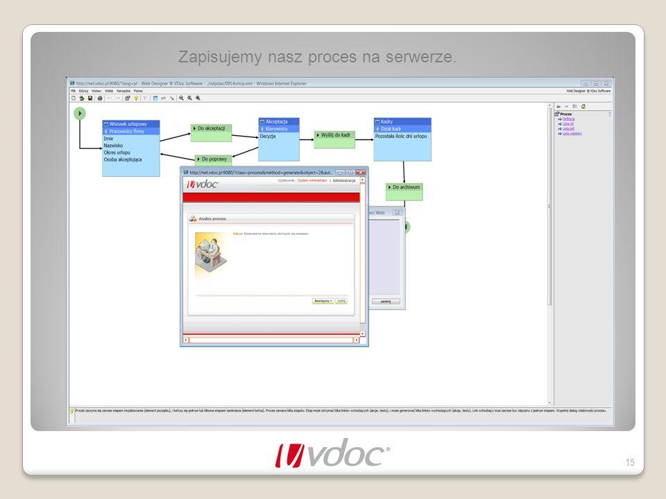 Zapisujemy nasz proces na serwerze.