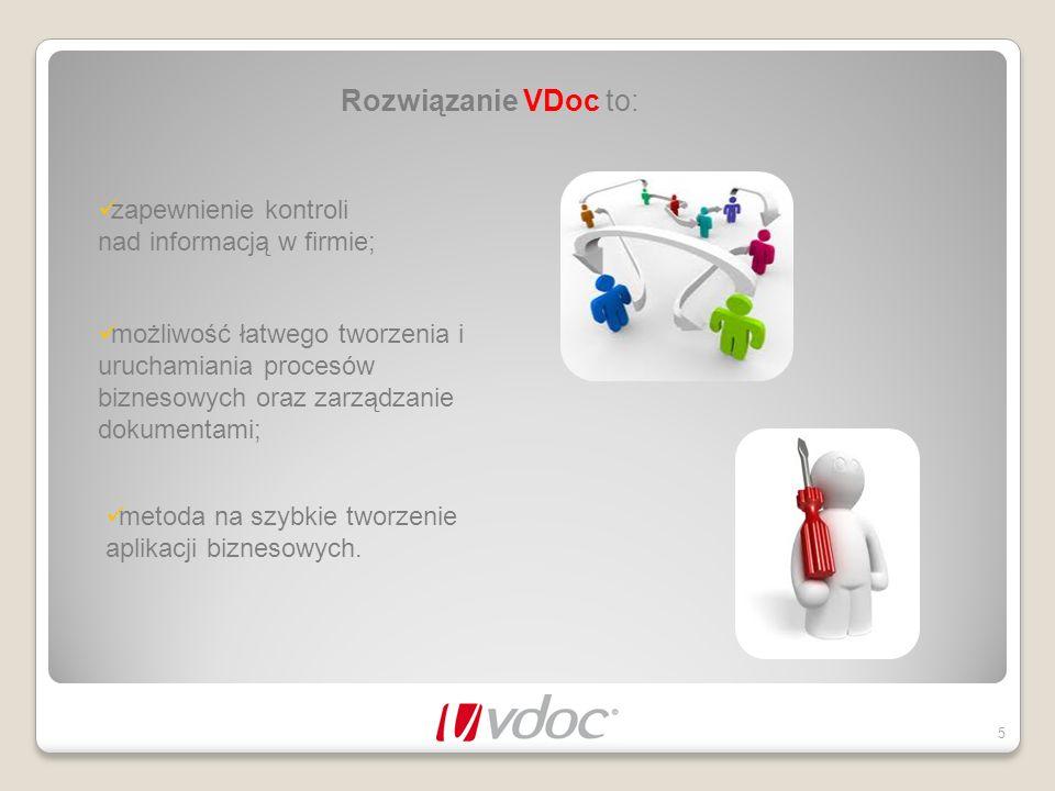 Rozwiązanie VDoc to: zapewnienie kontroli nad informacją w firmie;