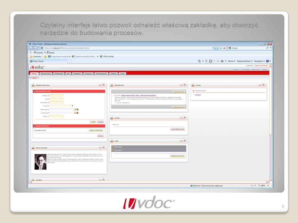 Czytelny interfejs łatwo pozwoli odnaleźć właściwą zakładkę, aby otworzyć narzędzie do budowania procesów.
