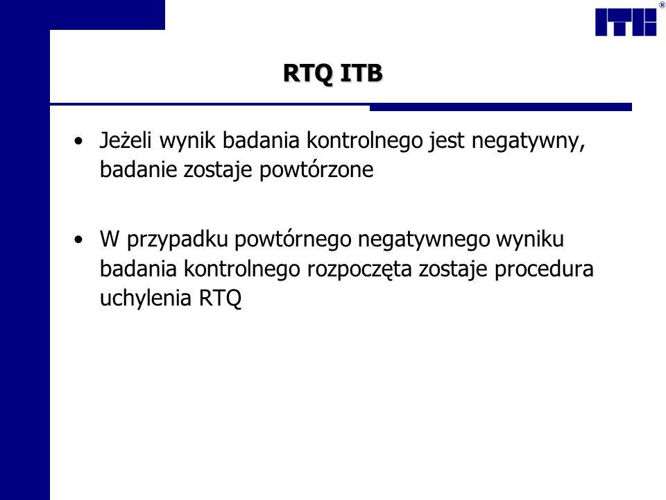 RTQ ITB Jeżeli wynik badania kontrolnego jest negatywny, badanie zostaje powtórzone.