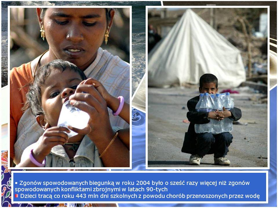 Zgonów spowodowanych biegunką w roku 2004 było o sześć razy więcej niż zgonów spowodowanych konfliktami zbrojnymi w latach 90-tych