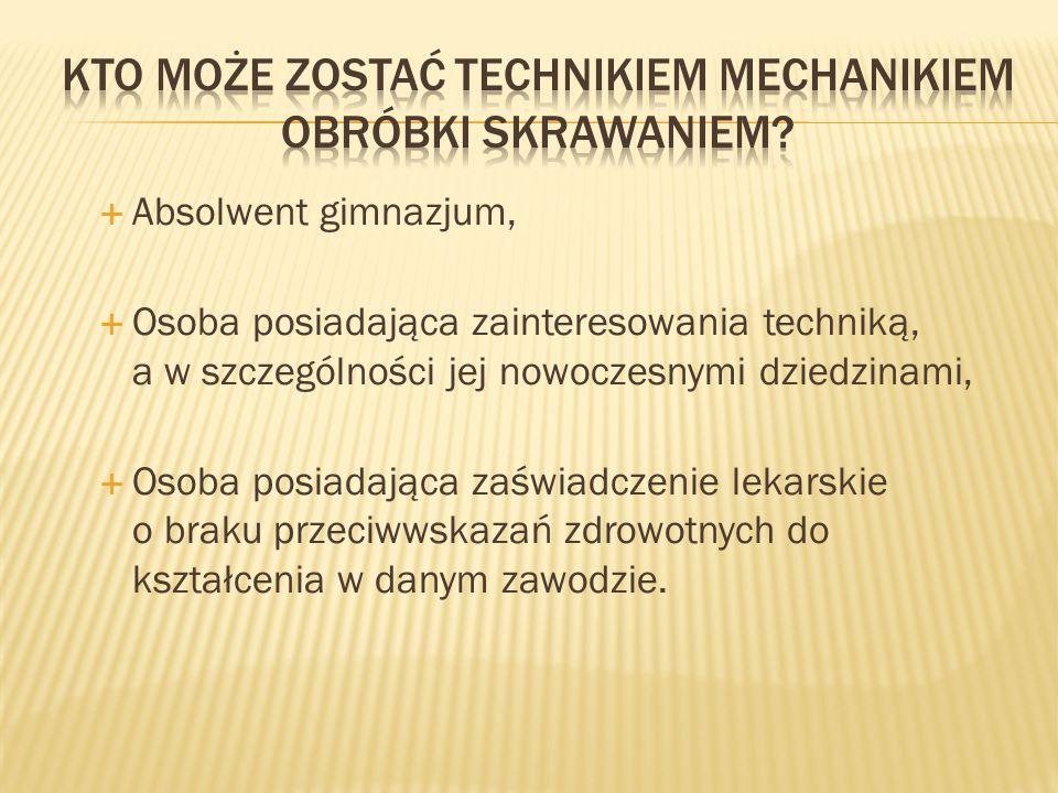 Kto może zostać Technikiem mechanikiem obróbki skrawaniem