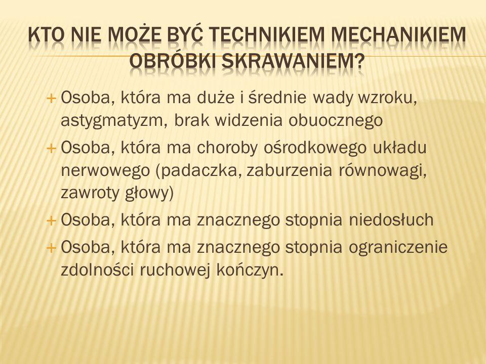 Kto nie może być technikiem mechanikiem obróbki skrawaniem