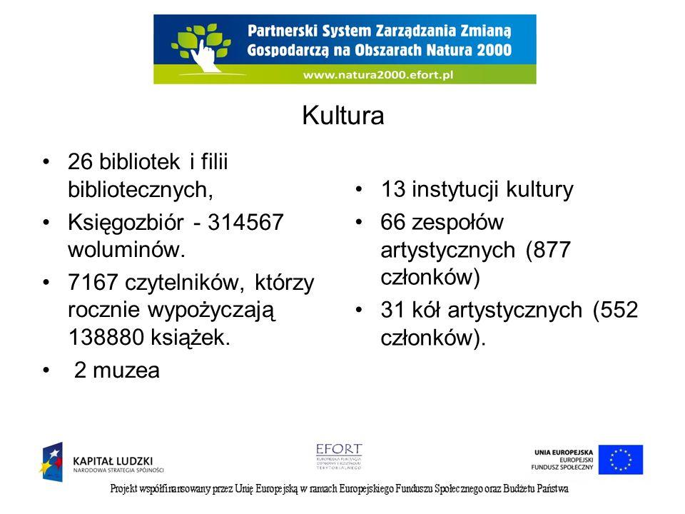 Kultura 26 bibliotek i filii bibliotecznych, 13 instytucji kultury