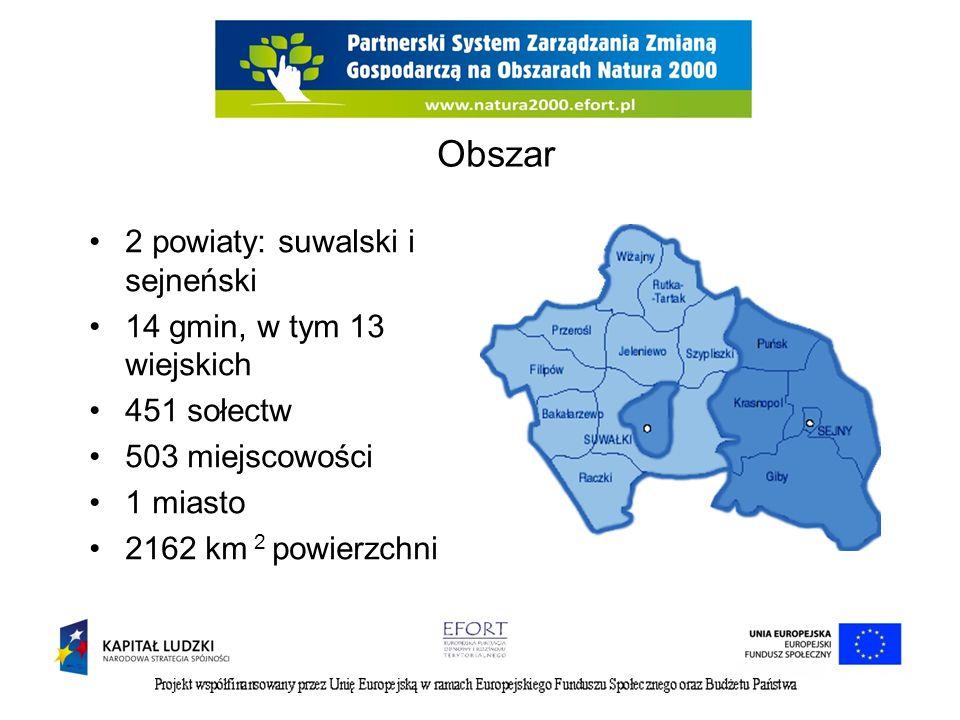 Obszar 2 powiaty: suwalski i sejneński 14 gmin, w tym 13 wiejskich