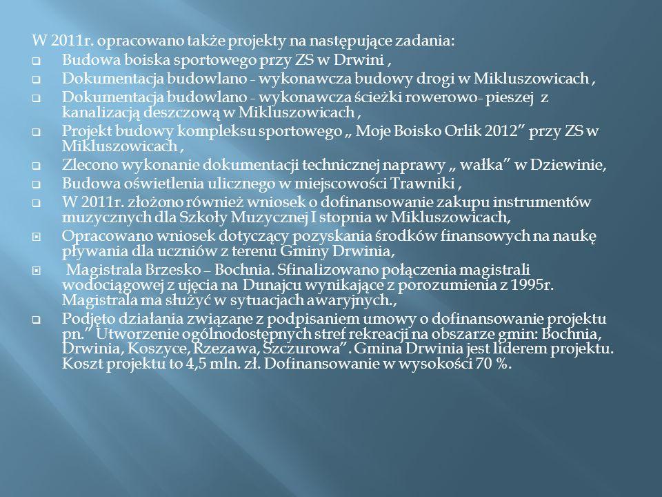 W 2011r. opracowano także projekty na następujące zadania: