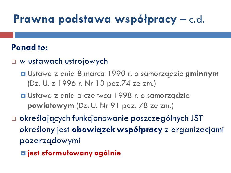 Prawna podstawa współpracy – c.d.