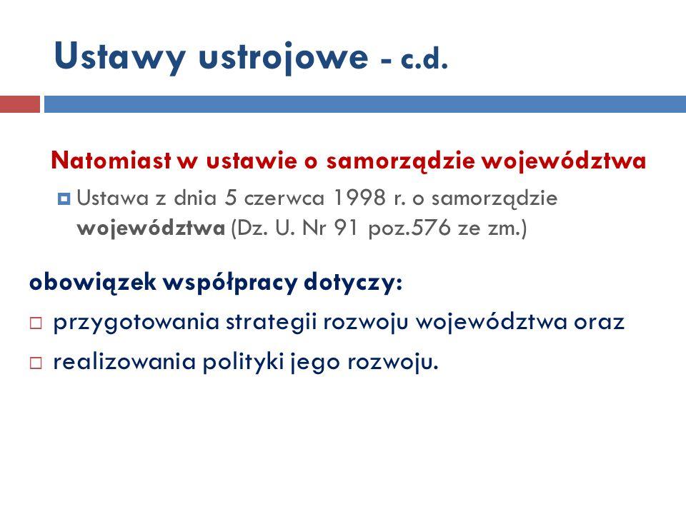 Ustawy ustrojowe - c.d. Natomiast w ustawie o samorządzie województwa