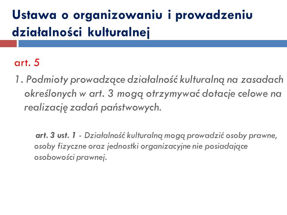 Ustawa o organizowaniu i prowadzeniu działalności kulturalnej