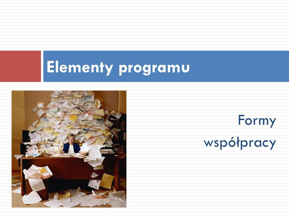 Elementy programu Formy współpracy