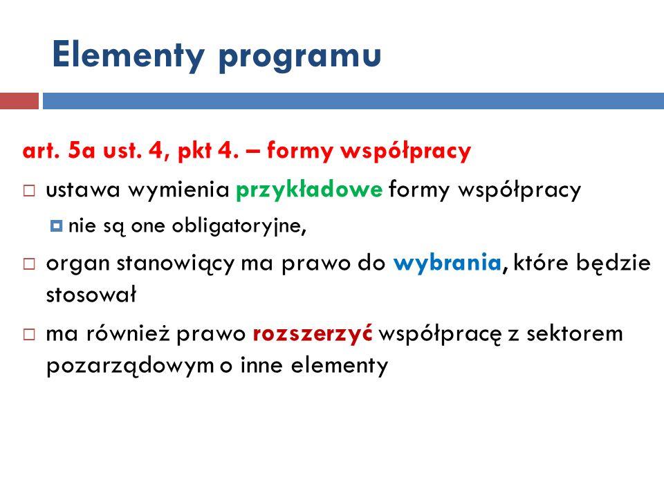 Elementy programu art. 5a ust. 4, pkt 4. – formy współpracy