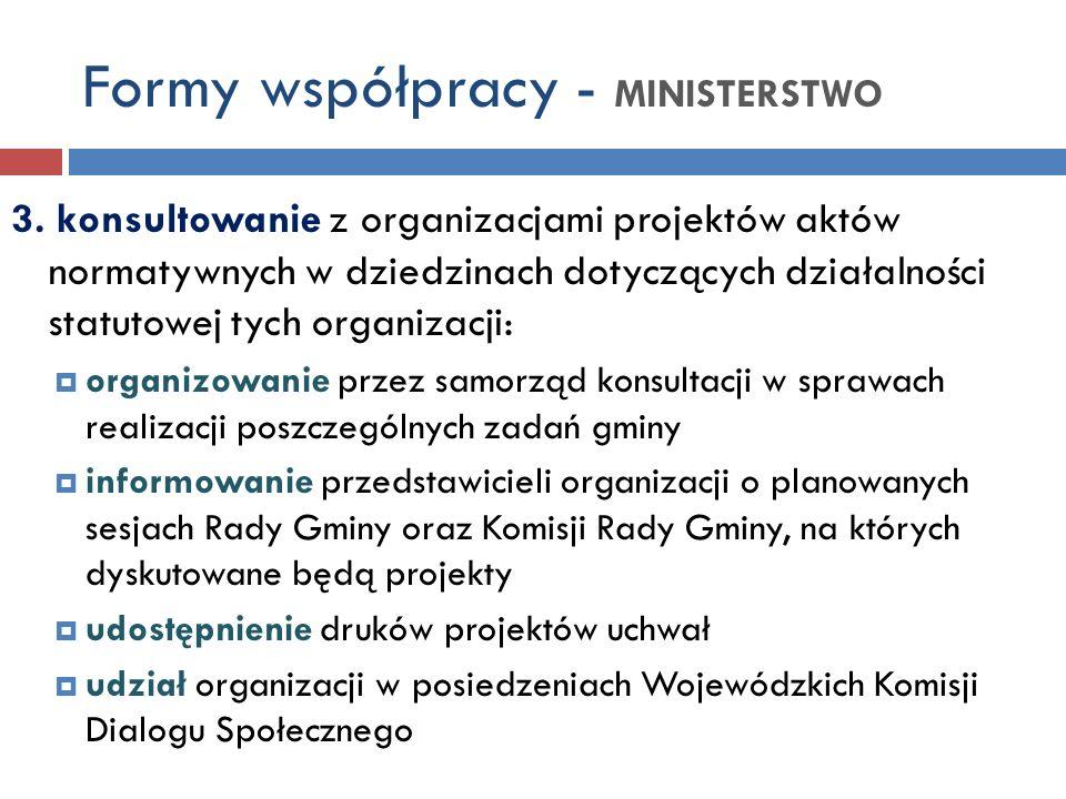 Formy współpracy - MINISTERSTWO