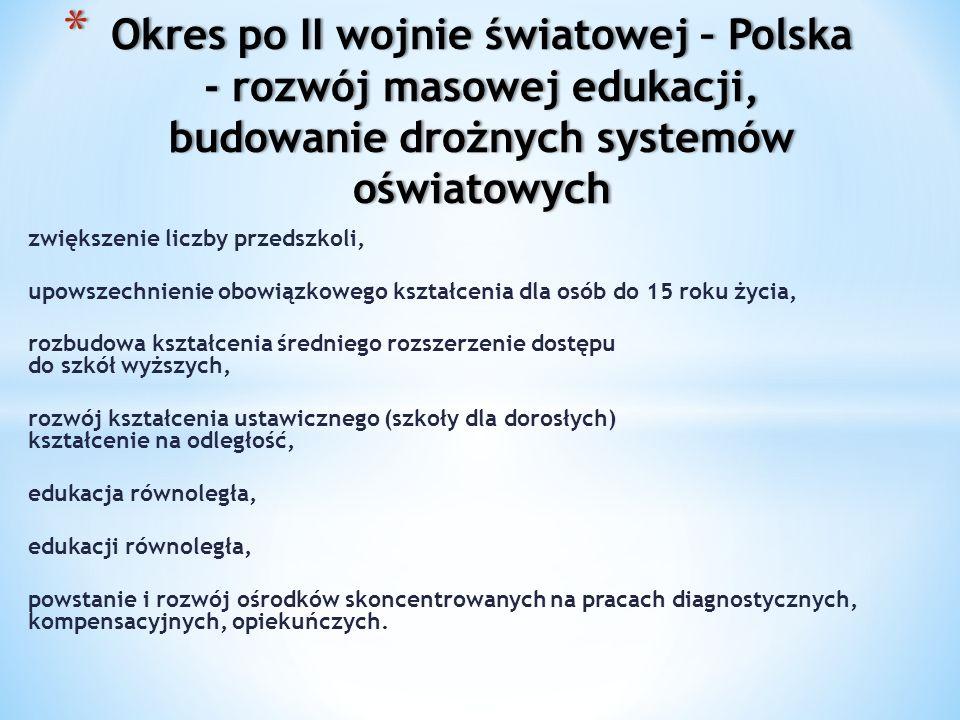 Okres po II wojnie światowej – Polska - rozwój masowej edukacji, budowanie drożnych systemów oświatowych