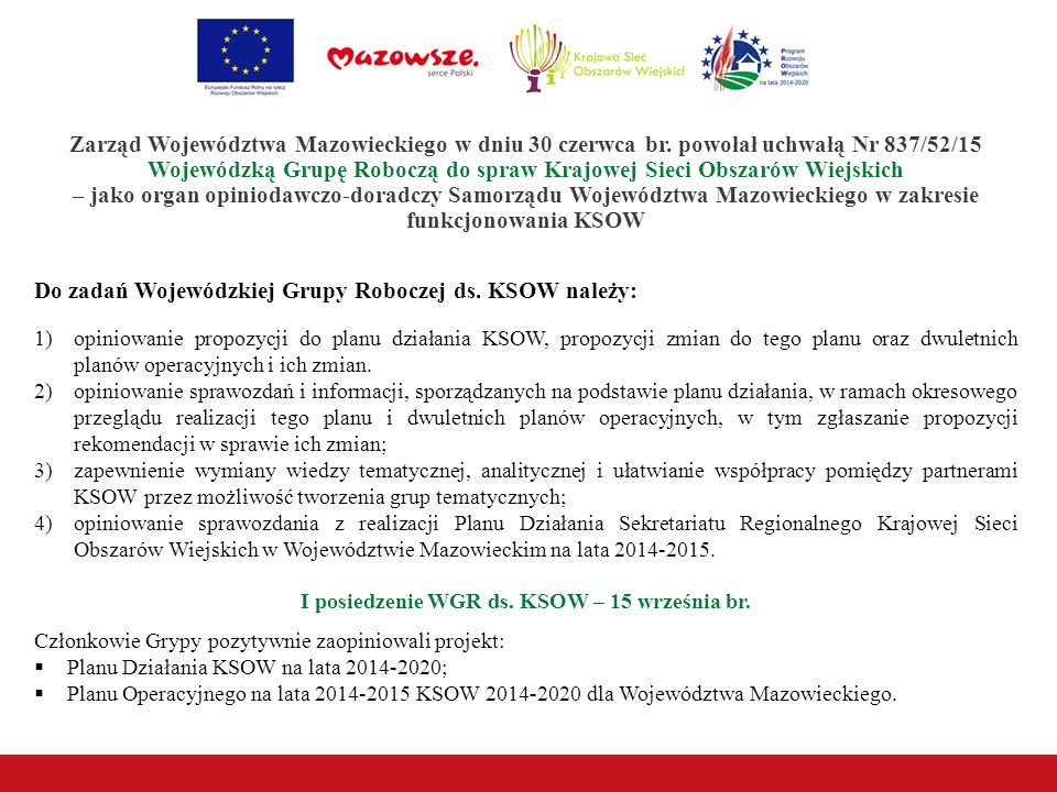 I posiedzenie WGR ds. KSOW – 15 września br.