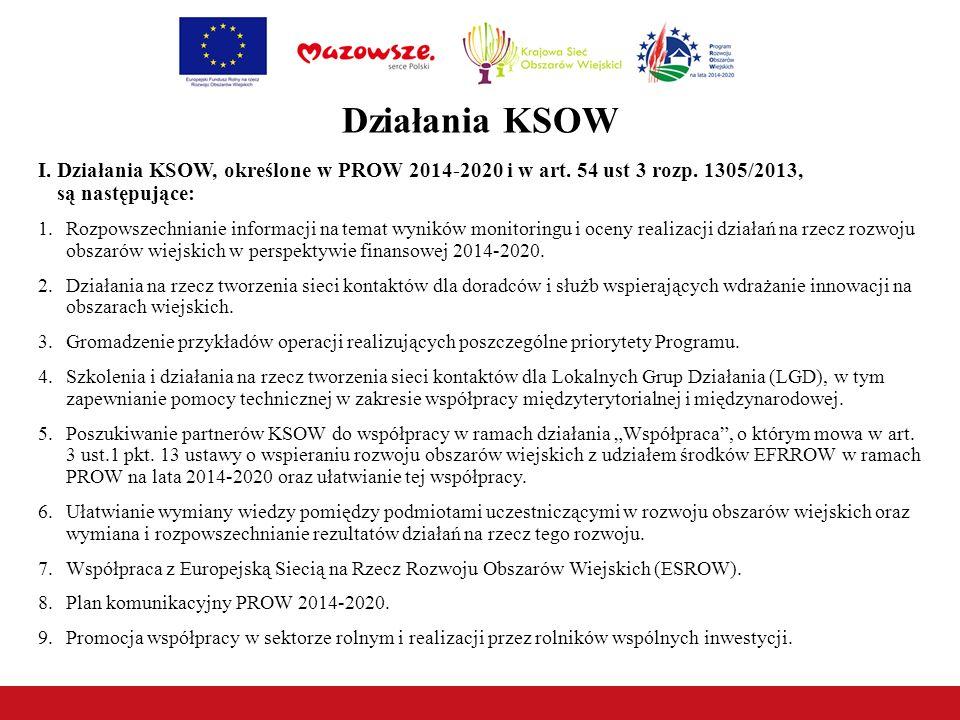 Działania KSOW I. Działania KSOW, określone w PROW 2014-2020 i w art. 54 ust 3 rozp. 1305/2013, są następujące: