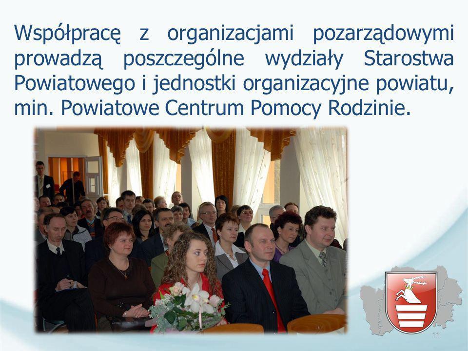 Współpracę z organizacjami pozarządowymi prowadzą poszczególne wydziały Starostwa Powiatowego i jednostki organizacyjne powiatu, min. Powiatowe Centrum Pomocy Rodzinie.