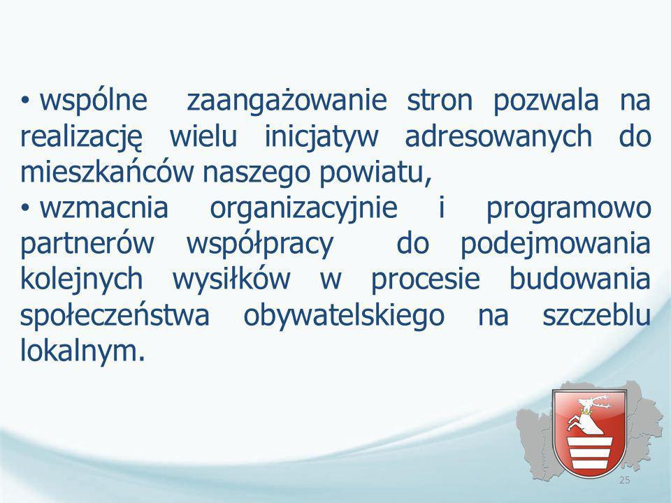 wspólne zaangażowanie stron pozwala na realizację wielu inicjatyw adresowanych do mieszkańców naszego powiatu,