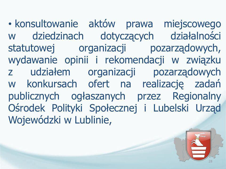 konsultowanie aktów prawa miejscowego w dziedzinach dotyczących działalności statutowej organizacji pozarządowych, wydawanie opinii i rekomendacji w związku z udziałem organizacji pozarządowych w konkursach ofert na realizację zadań publicznych ogłaszanych przez Regionalny Ośrodek Polityki Społecznej i Lubelski Urząd Wojewódzki w Lublinie,