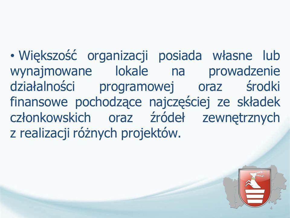Większość organizacji posiada własne lub wynajmowane lokale na prowadzenie działalności programowej oraz środki finansowe pochodzące najczęściej ze składek członkowskich oraz źródeł zewnętrznych z realizacji różnych projektów.