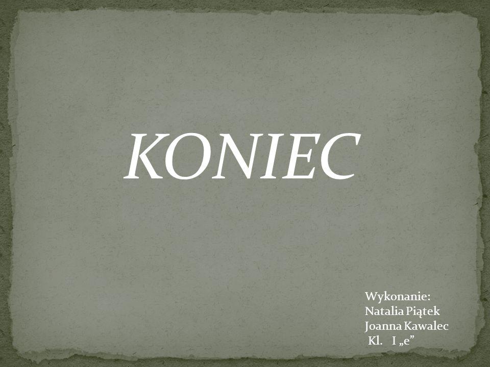 """KONIEC Wykonanie: Natalia Piątek Joanna Kawalec Kl. I """"e"""