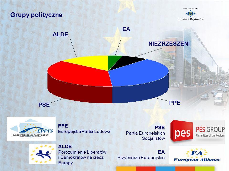 Grupy polityczne EA ALDE NIEZRZESZENI PPE PSE PPE PSE ALDE EA