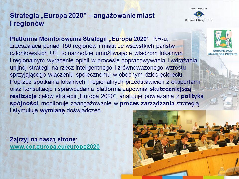 """Strategia """"Europa 2020 – angażowanie miast i regionów"""