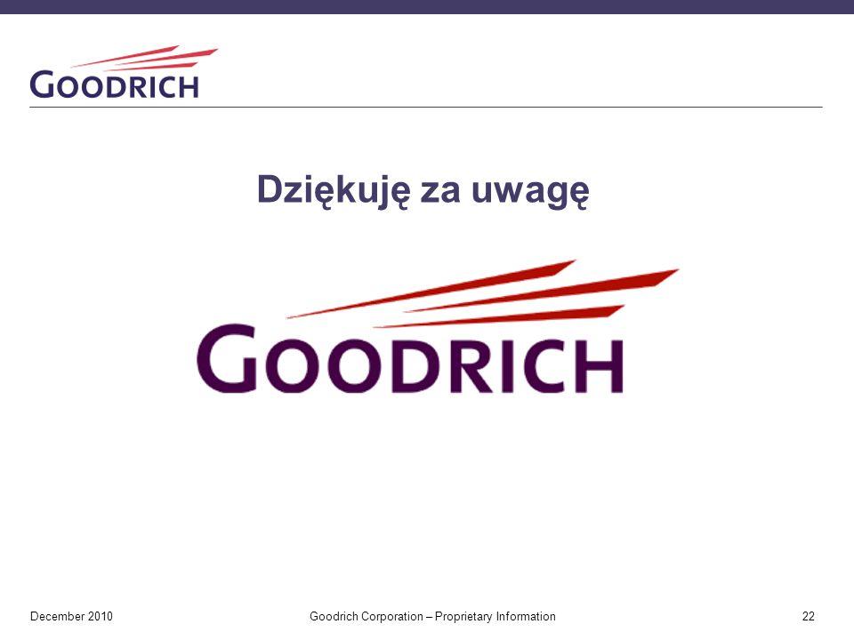 Dziękuję za uwagę December 2010 Goodrich Corporation – Proprietary Information 22