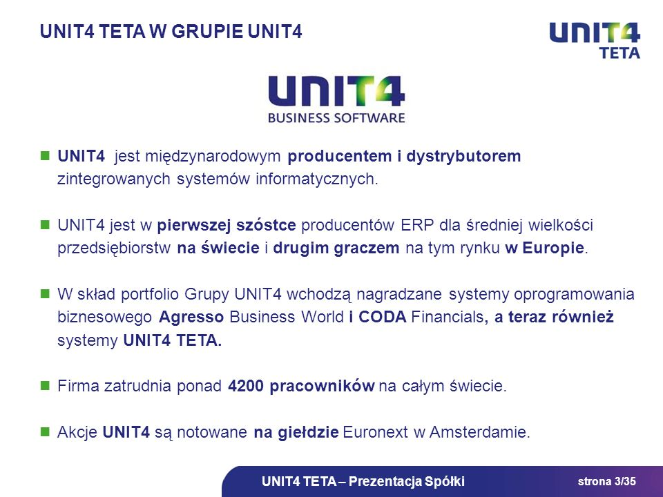 UNIT4 TETA w grupie UNIT4 UNIT4 jest międzynarodowym producentem i dystrybutorem zintegrowanych systemów informatycznych.