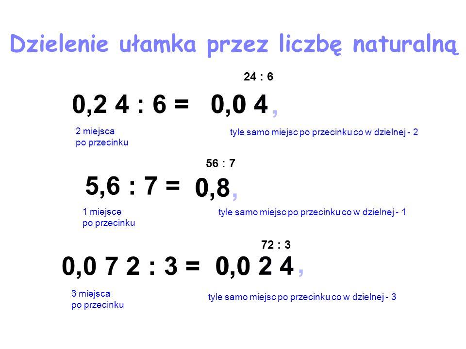 Dzielenie ułamka przez liczbę naturalną