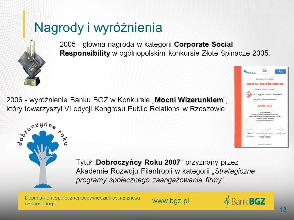 Nagrody i wyróżnienia2005 - główna nagroda w kategorii Corporate Social Responsibility w ogólnopolskim konkursie Złote Spinacze 2005.