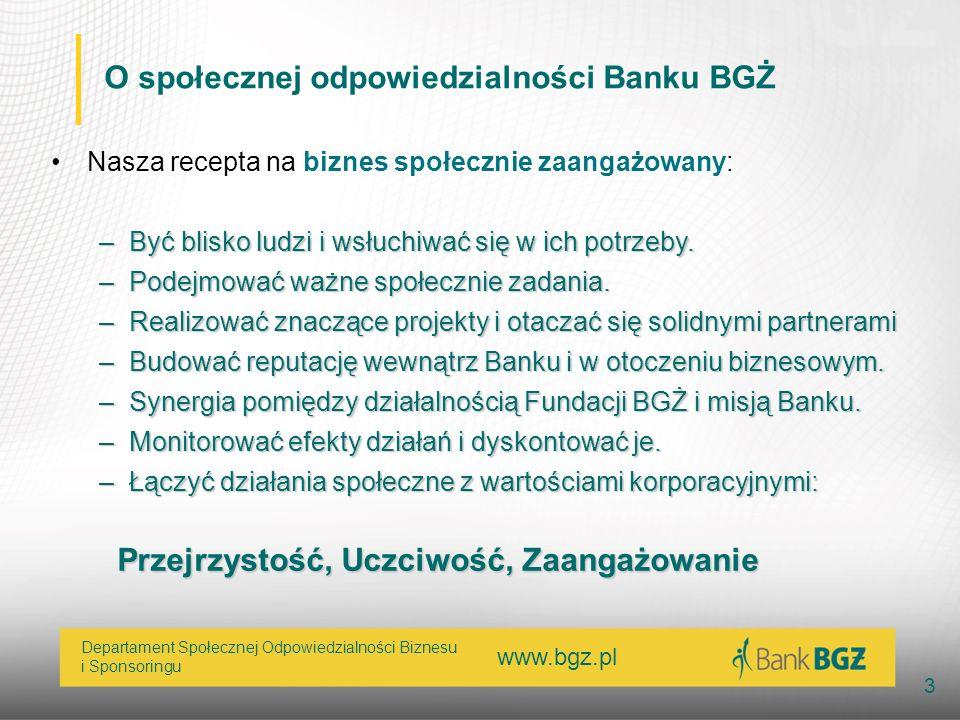 O społecznej odpowiedzialności Banku BGŻ