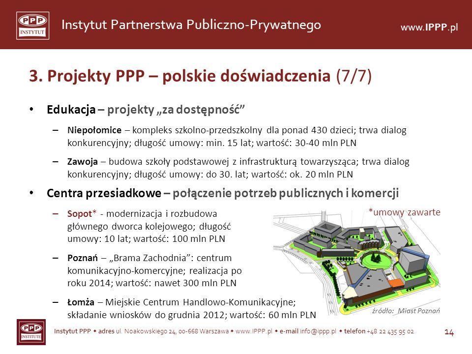 3. Projekty PPP – polskie doświadczenia (7/7)