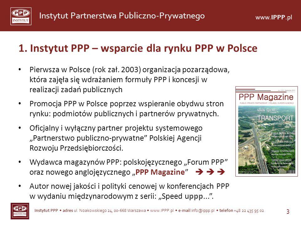 1. Instytut PPP – wsparcie dla rynku PPP w Polsce
