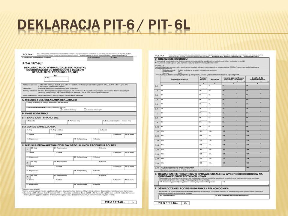 Deklaracja PIT-6 / PIT- 6L