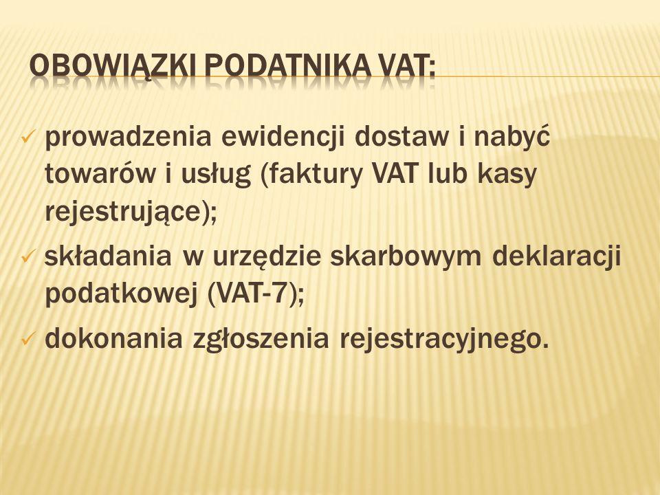 Obowiązki podatnika VAT: