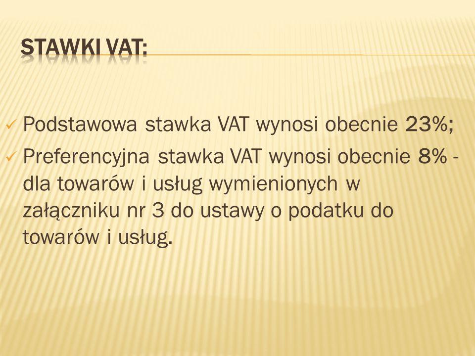 Stawki VAT: Podstawowa stawka VAT wynosi obecnie 23%;