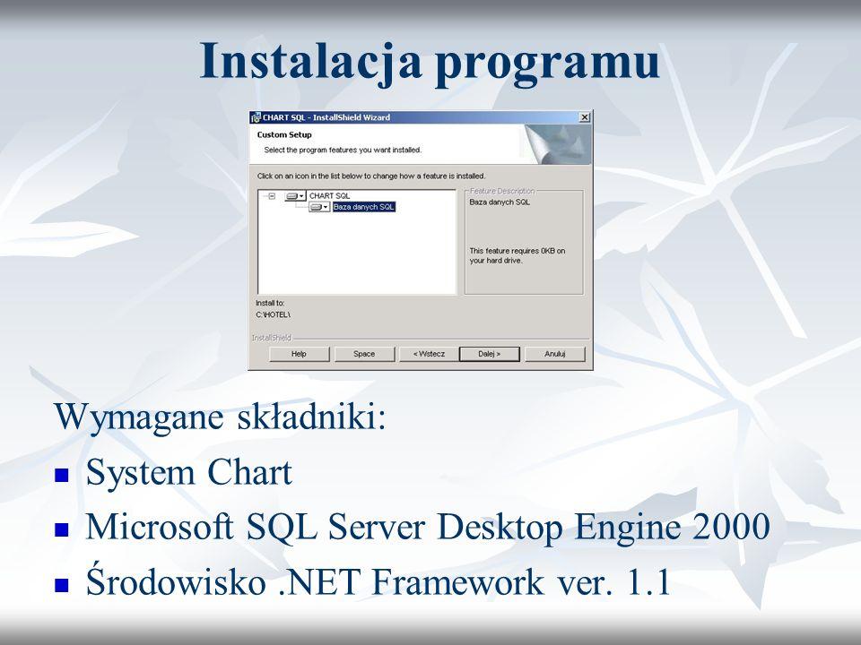 Instalacja programu Wymagane składniki: System Chart