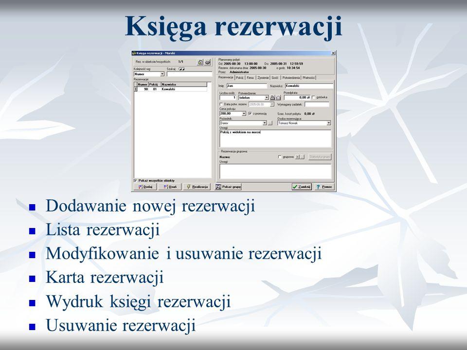 Księga rezerwacji Dodawanie nowej rezerwacji Lista rezerwacji