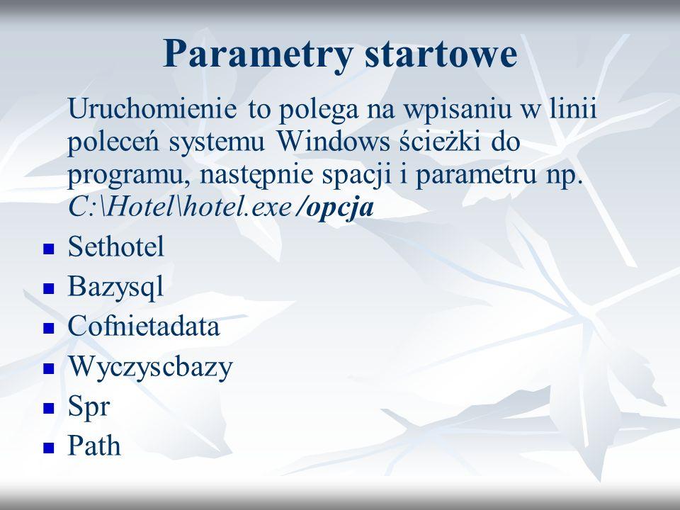 Parametry startowe