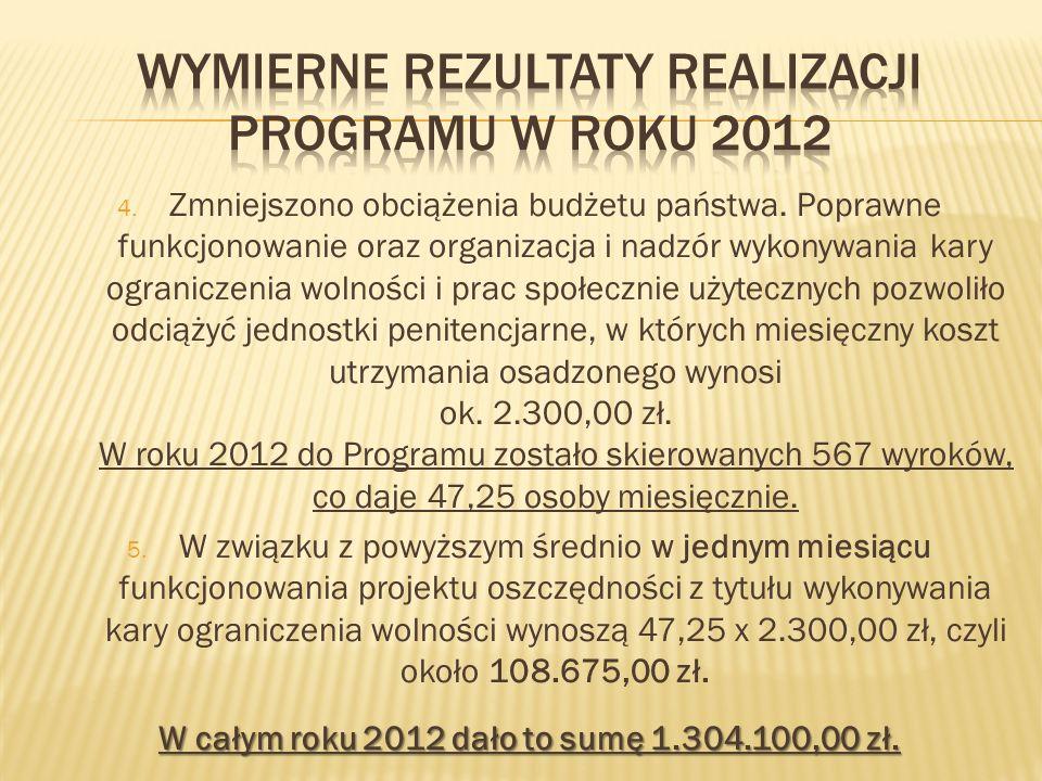 Wymierne rezultaty realizacji programu w roku 2012