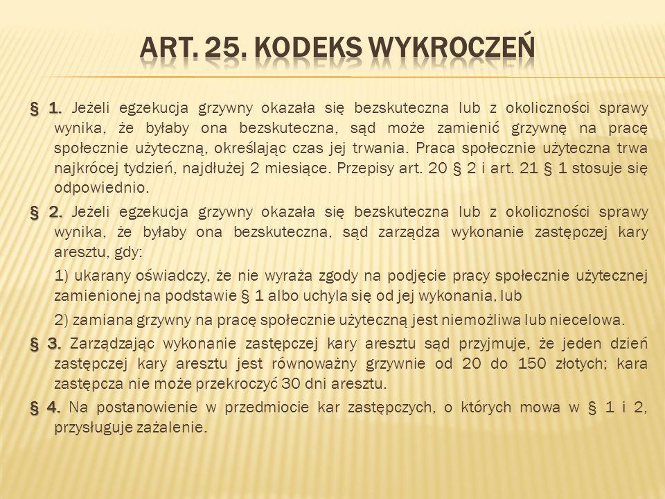 Art. 25. Kodeks wykroczeń