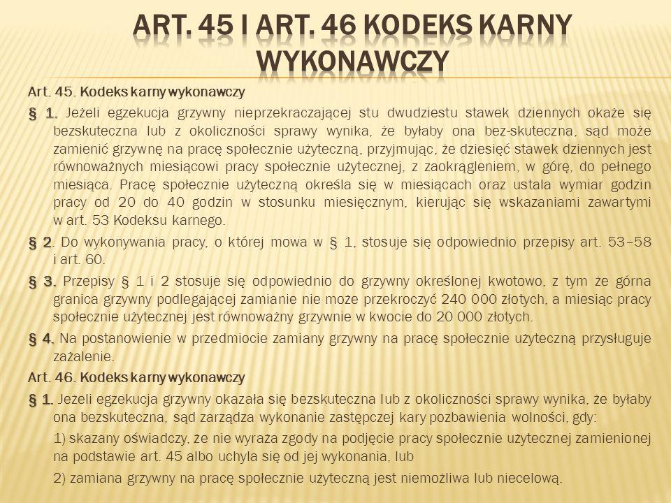 Art. 45 i art. 46 kodeks karny wykonawczy