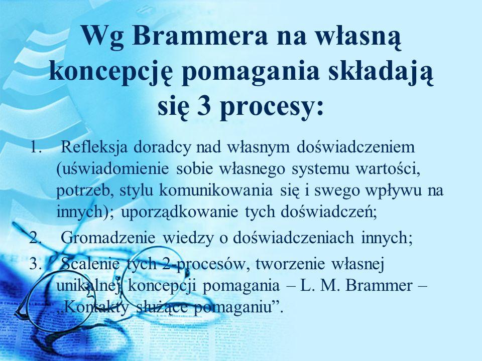 Wg Brammera na własną koncepcję pomagania składają się 3 procesy: