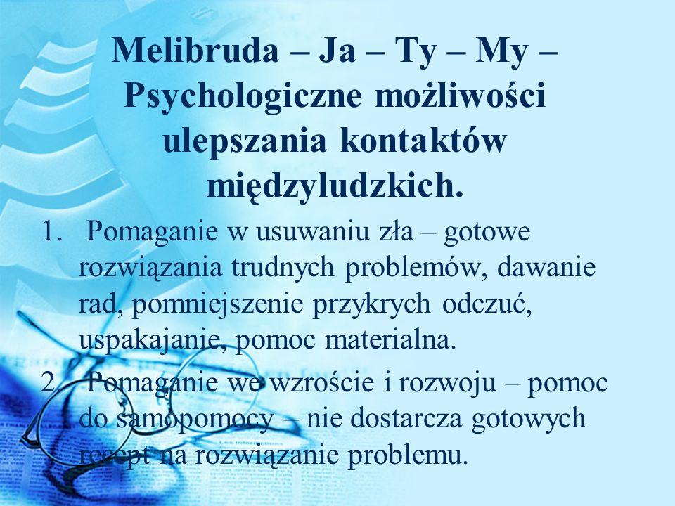 Melibruda – Ja – Ty – My – Psychologiczne możliwości ulepszania kontaktów międzyludzkich.