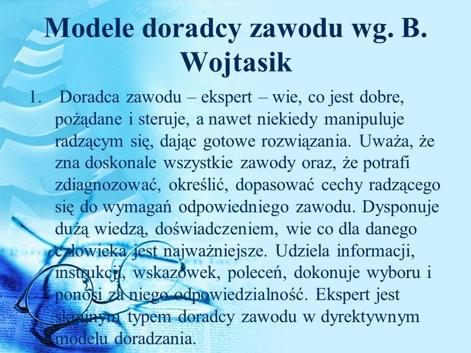 Modele doradcy zawodu wg. B. Wojtasik