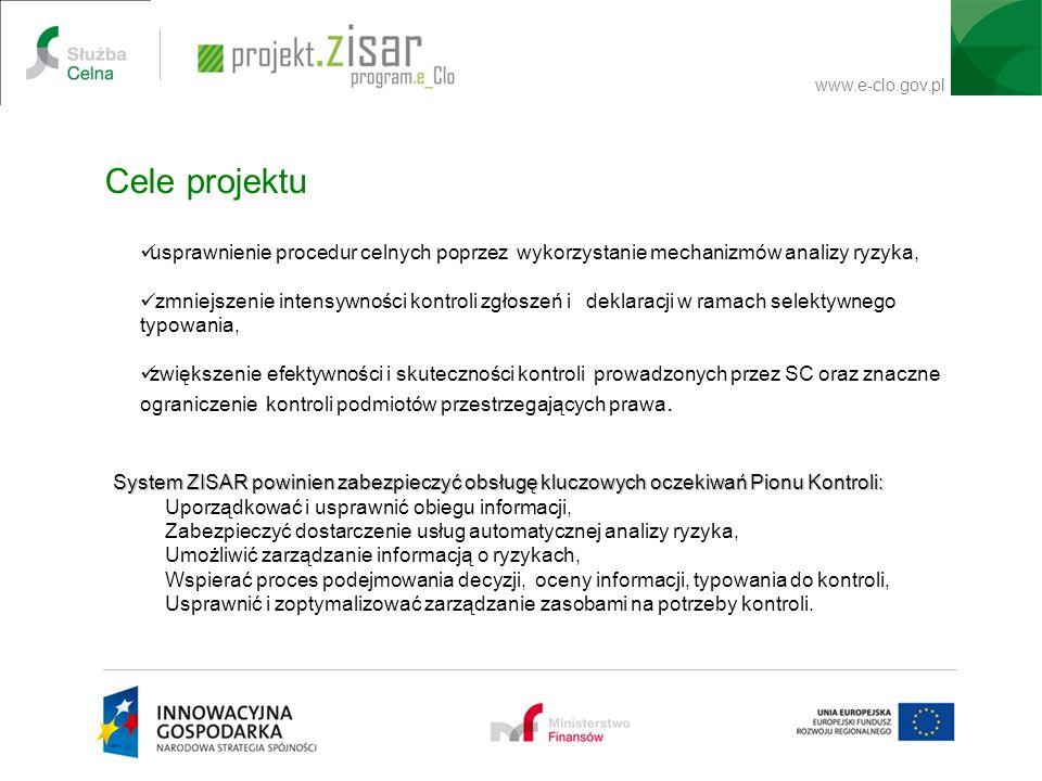 Cele projektu usprawnienie procedur celnych poprzez wykorzystanie mechanizmów analizy ryzyka,
