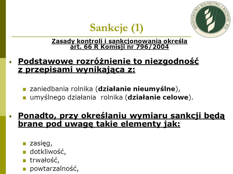 Zasady kontroli i sankcjonowania określa art. 66 R Komisji nr 796/2004