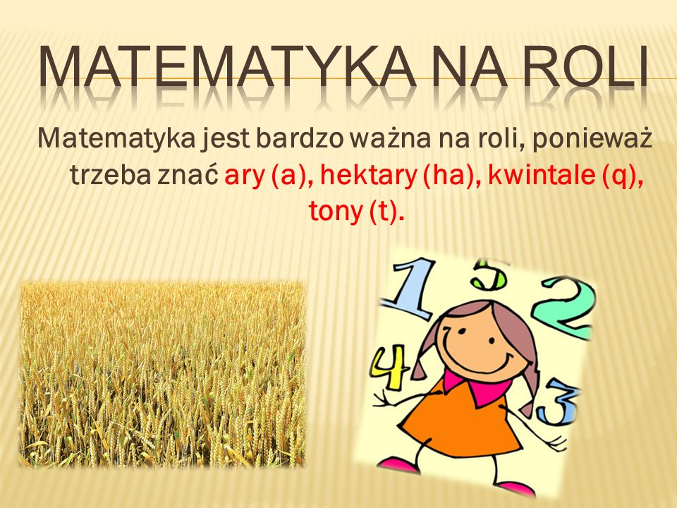 Matematyka na roli Matematyka jest bardzo ważna na roli, ponieważ trzeba znać ary (a), hektary (ha), kwintale (q), tony (t).